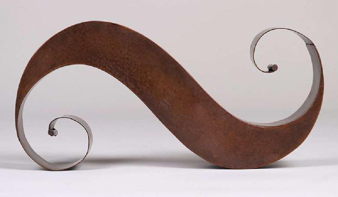 "Dirk van Erp hammered copper ""S†shaped sculpture."