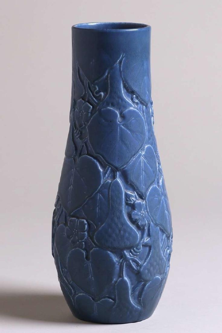 Tall Rookwood Matte Blue Vase with Squash Motif 1929