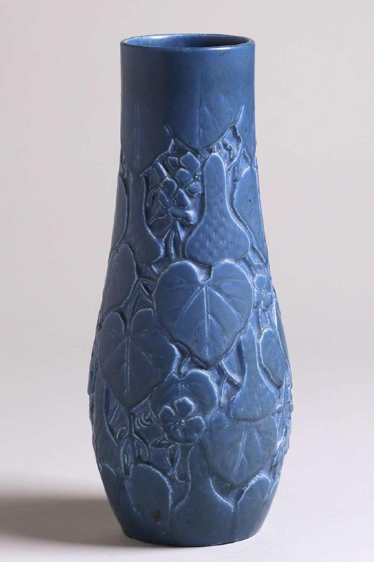 Tall Rookwood Matte Blue Vase with Squash Motif 1929 - 2