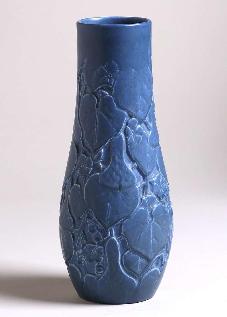 Tall Rookwood Matte Blue Vase with Squash Motif 1929 - 3