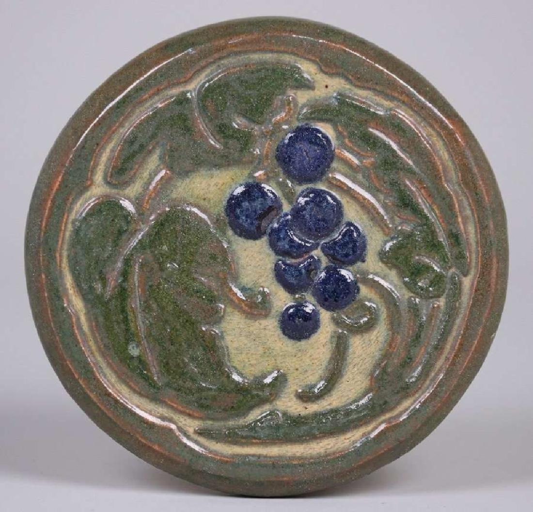 Arts & Crafts Hand-Carved Grapevine Tile c1910
