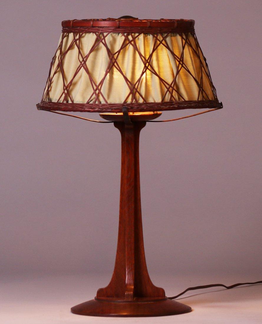 Rare Gustav Stickley Oak and Japanese Wicker Lamp