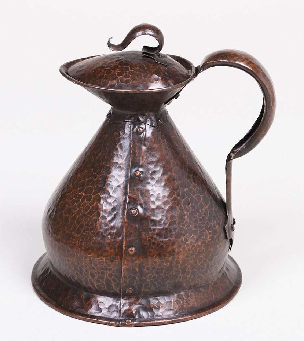 English Arts & Crafts Hammered Copper Pitcher