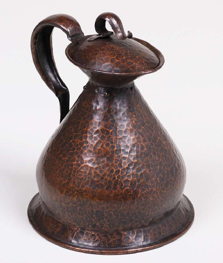 English Arts & Crafts Hammered Copper Pitcher - 3
