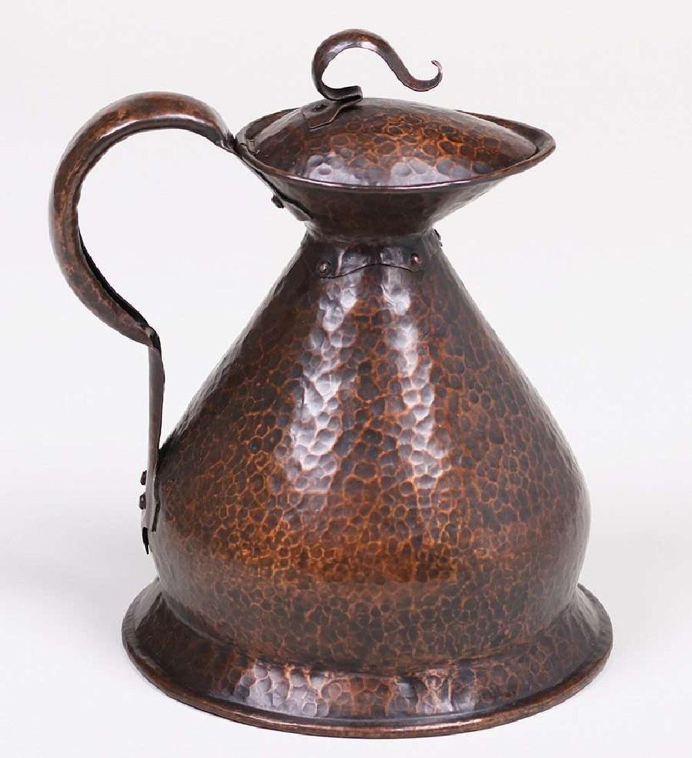 English Arts & Crafts Hammered Copper Pitcher - 4
