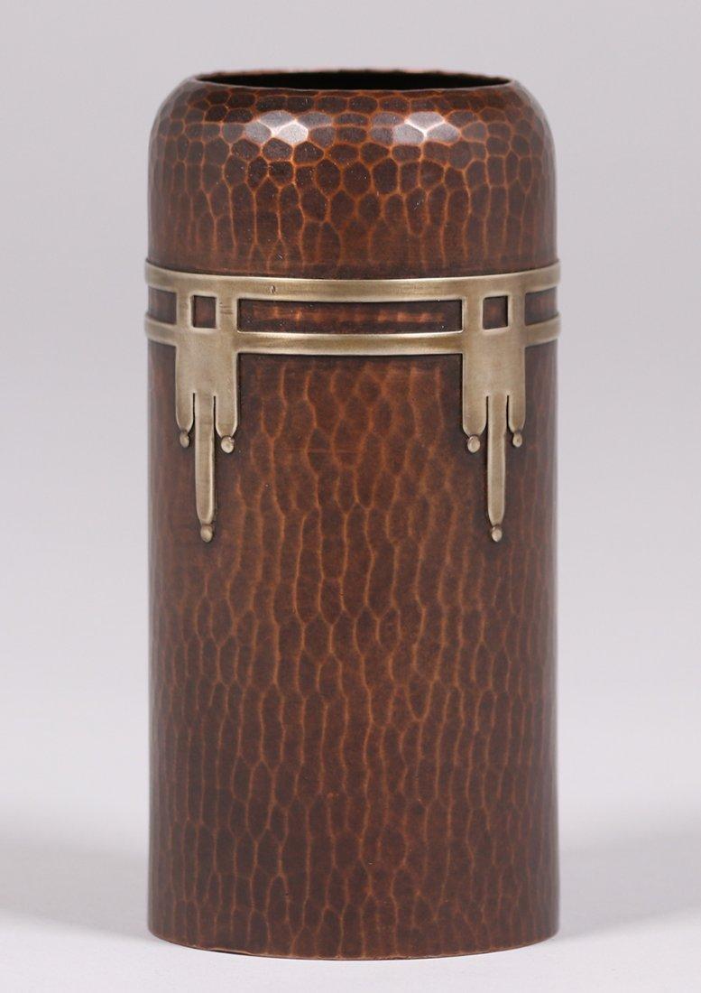 Roycroft hammered copper cylinder vase with