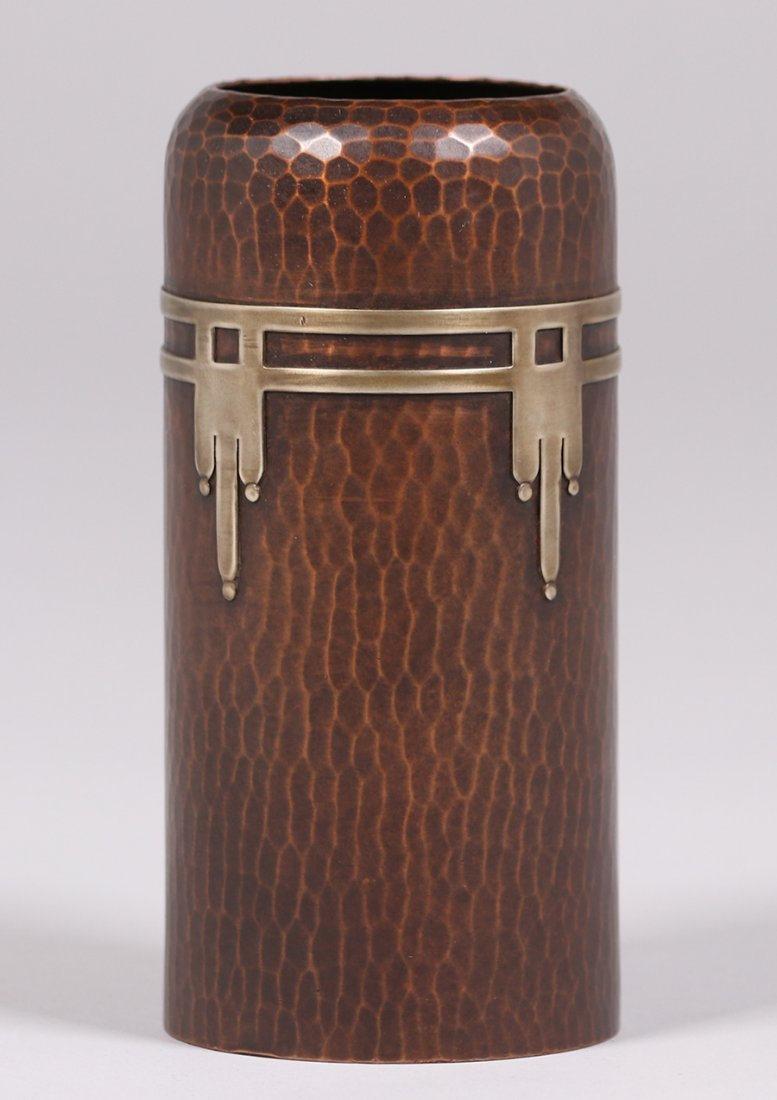 Roycroft Hammered Copper Cylinder Vase