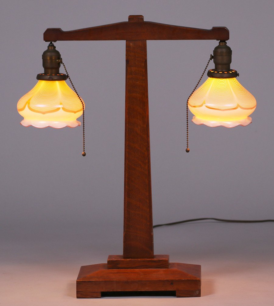 Quezal and oak lamp c1910.