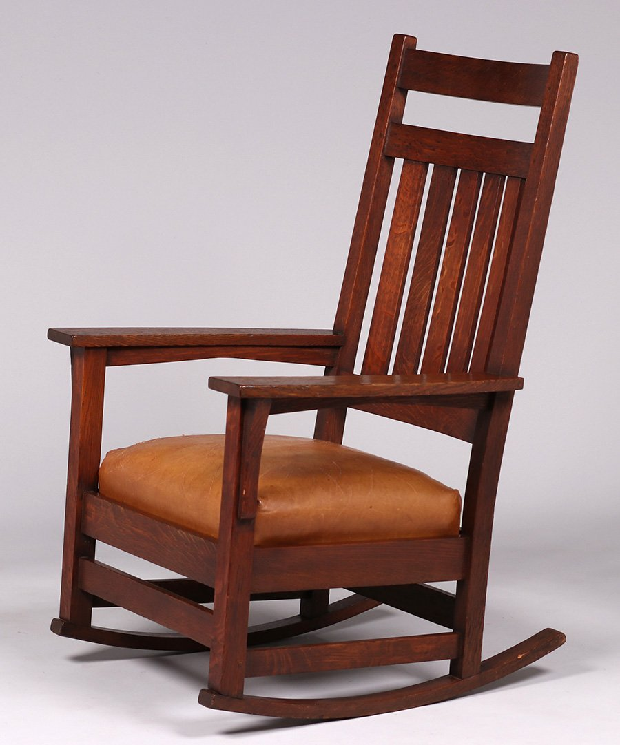 Gustav Stickley #393 tallback rocker.