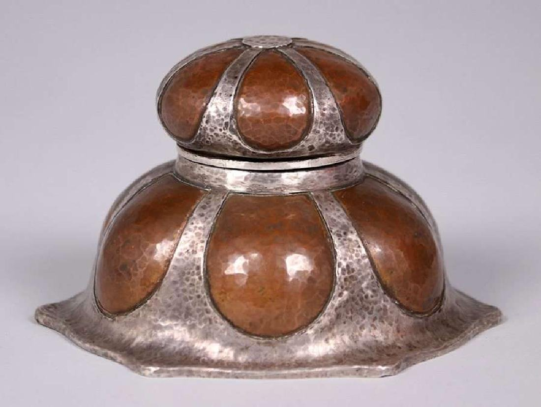 Joseph Heinrichs Hammered Copper and Silver Inkwell