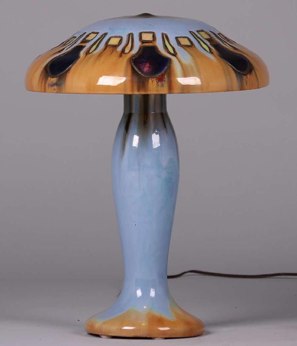 Fulper Pottery - Leaded Glass Mushroom Lamp c1910 - 2