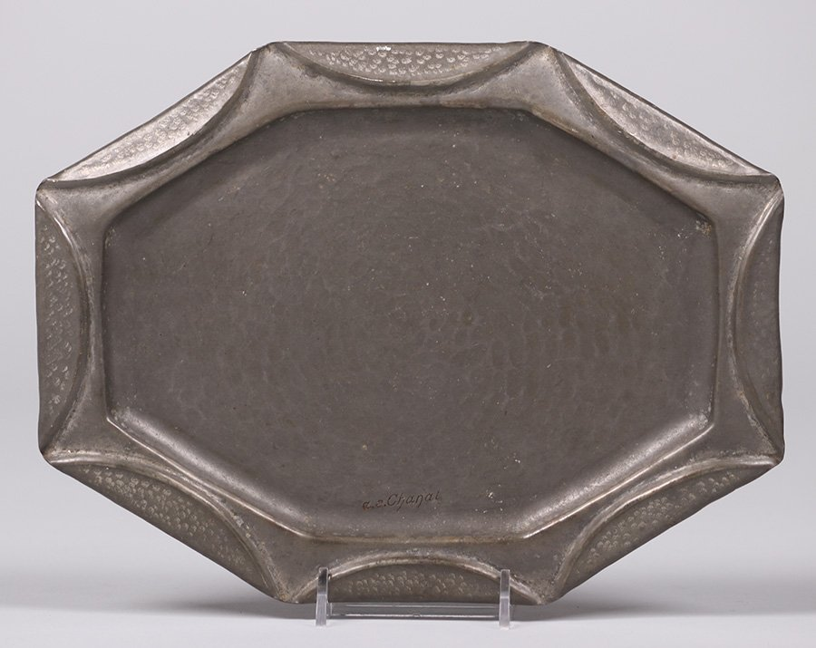 A.E. Chanal Hand Hammered Pewter tray c1920s