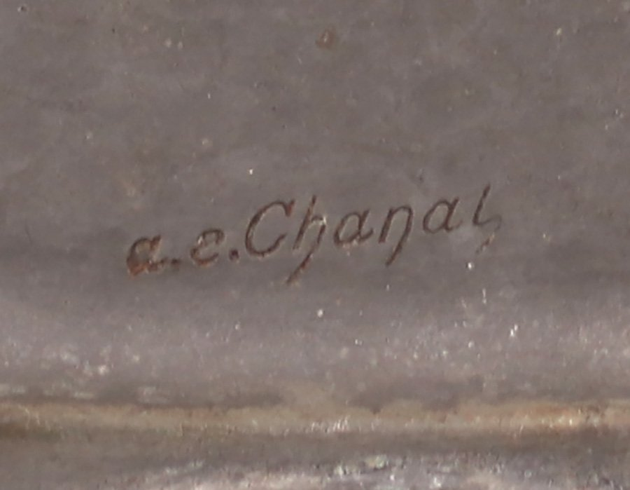 A.E. Chanal Hand Hammered Pewter tray c1920s - 2