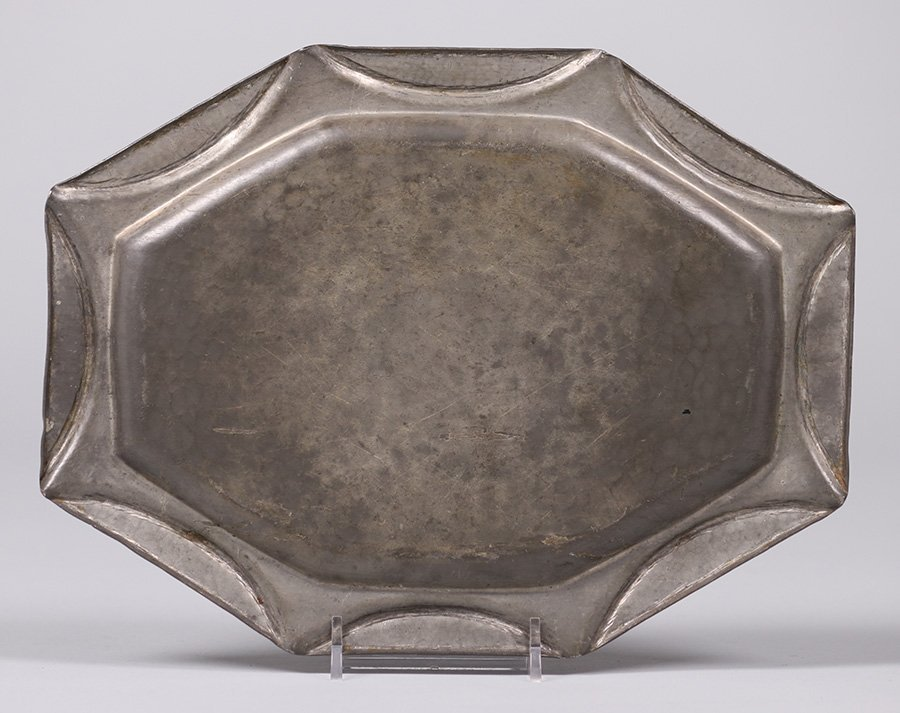A.E. Chanal Hand Hammered Pewter tray c1920s - 3