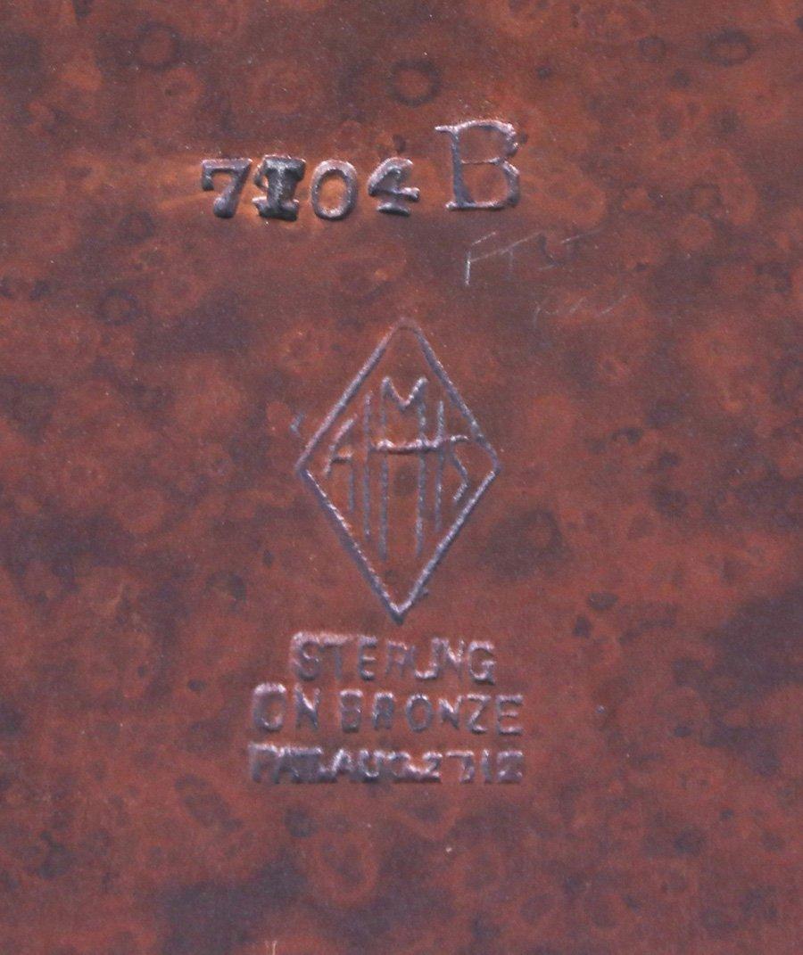 Heintz Sterling on Bronze Bookends - 3
