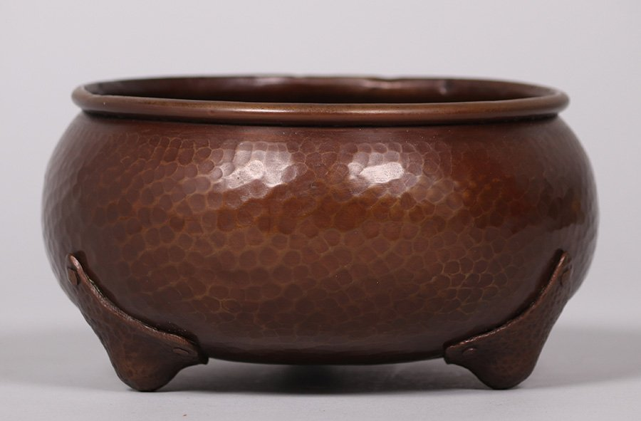 Gustav Stickley Hammered Copper Nut Bowl - 2