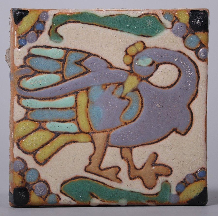 Batchelder Multi-Colored Peacock Tile