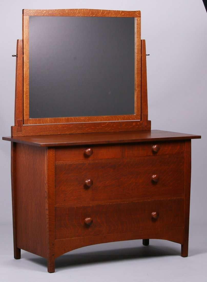 Gustav Stickley 4-Drawer Dresser with Mirror