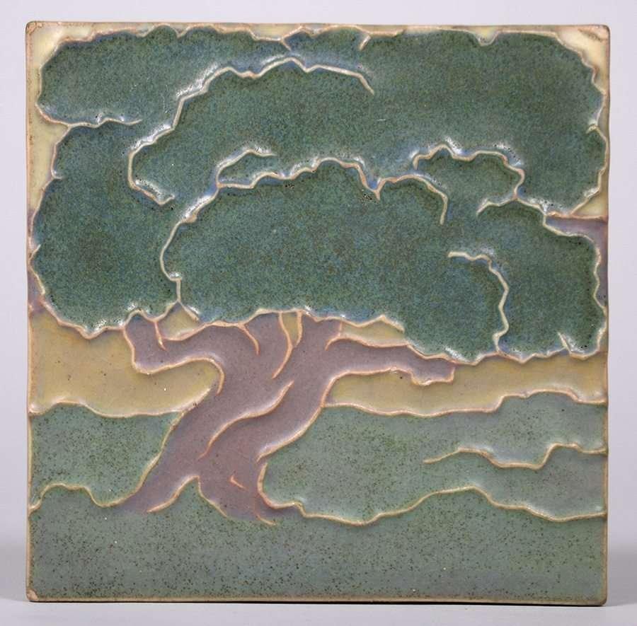 Rookwood Oak Tree Trivet Tile c1915