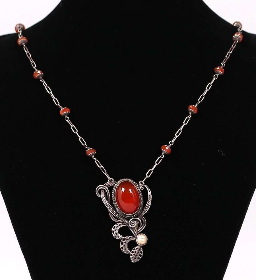 Arts & Crafts Sterling Carnelian Necklace c1910 - 2