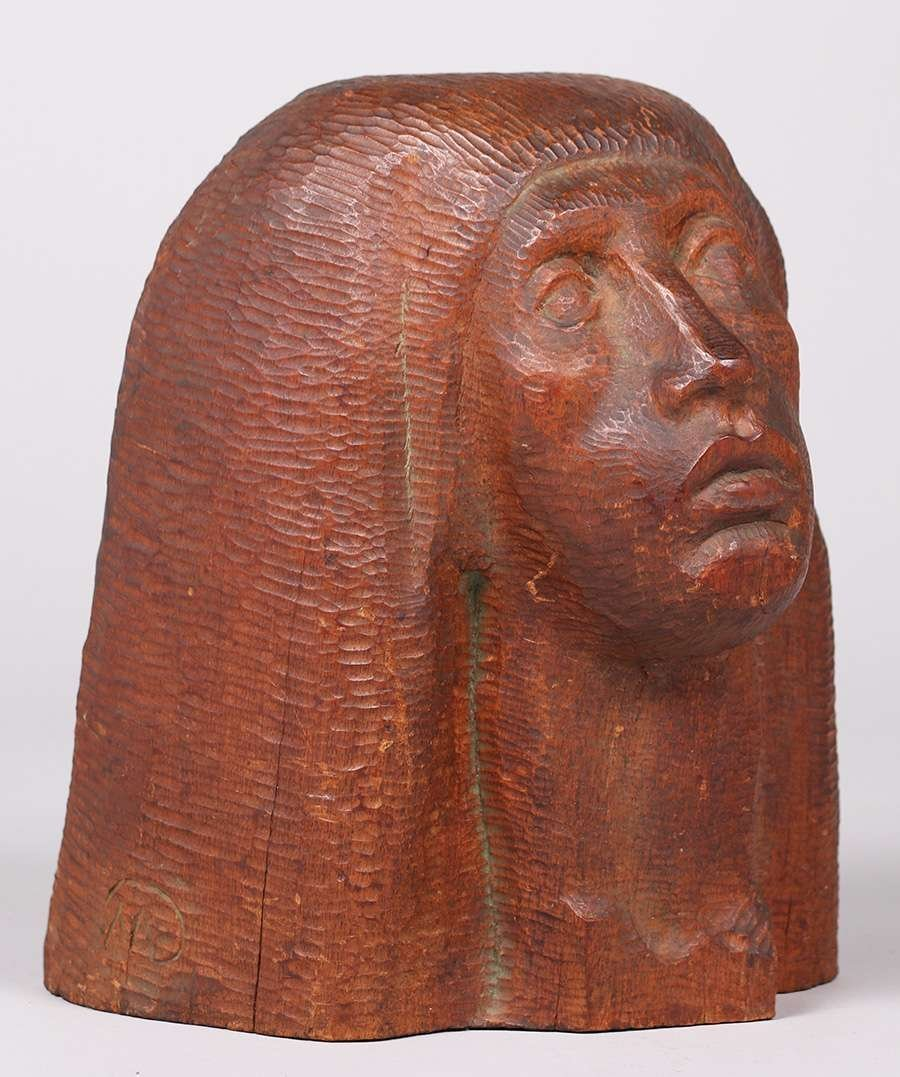 WPA Era Hand Carved Figural Head c1930s