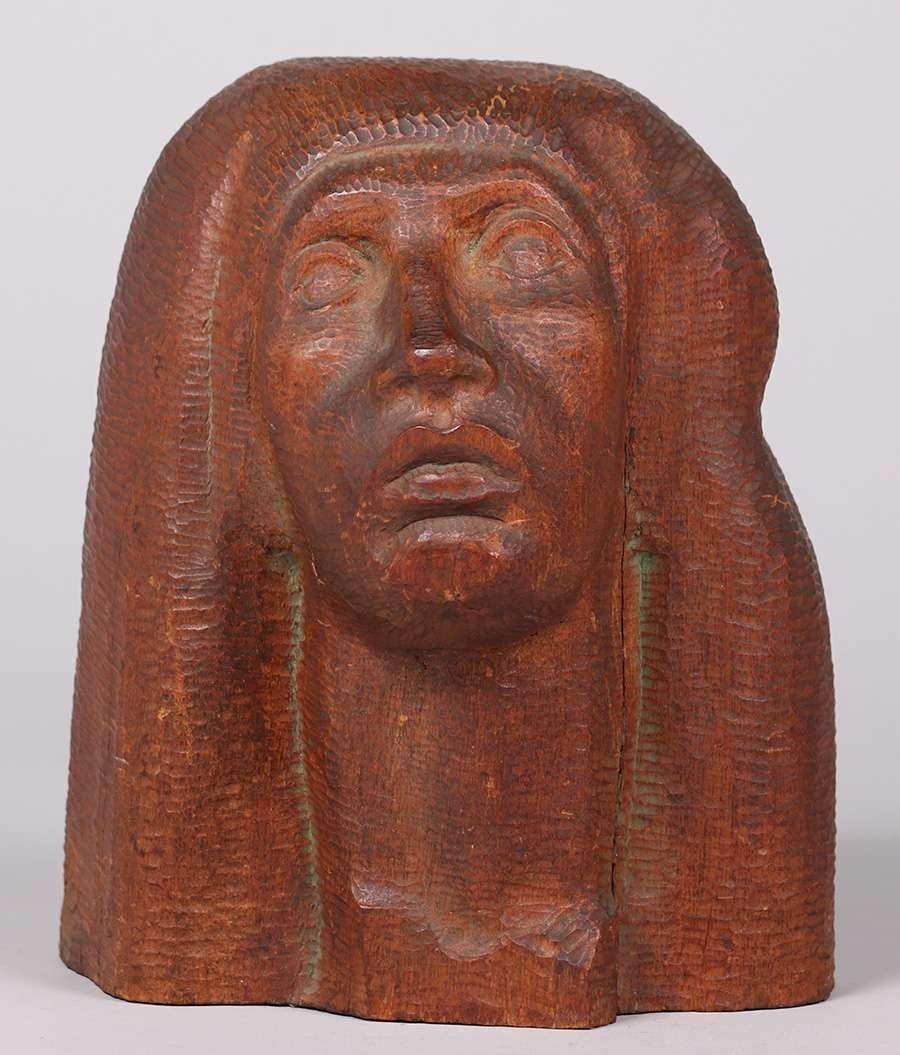 WPA Era Hand Carved Figural Head c1930s - 2