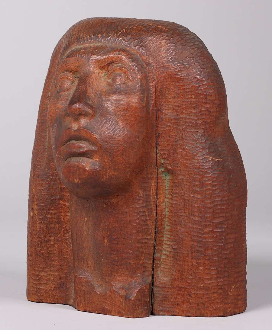 WPA Era Hand Carved Figural Head c1930s - 3