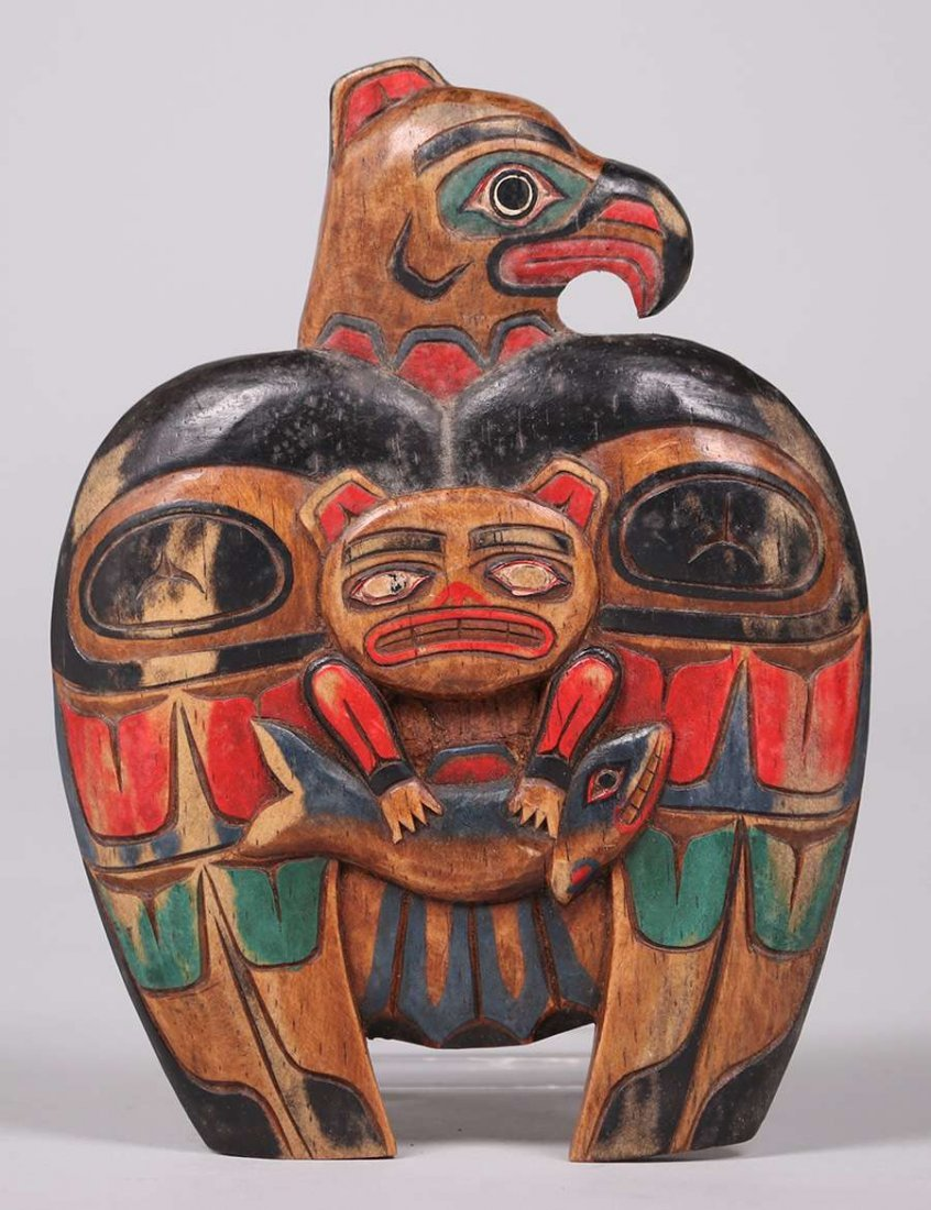Northwest Coast Hand Carved & Painted Eagle c1920s