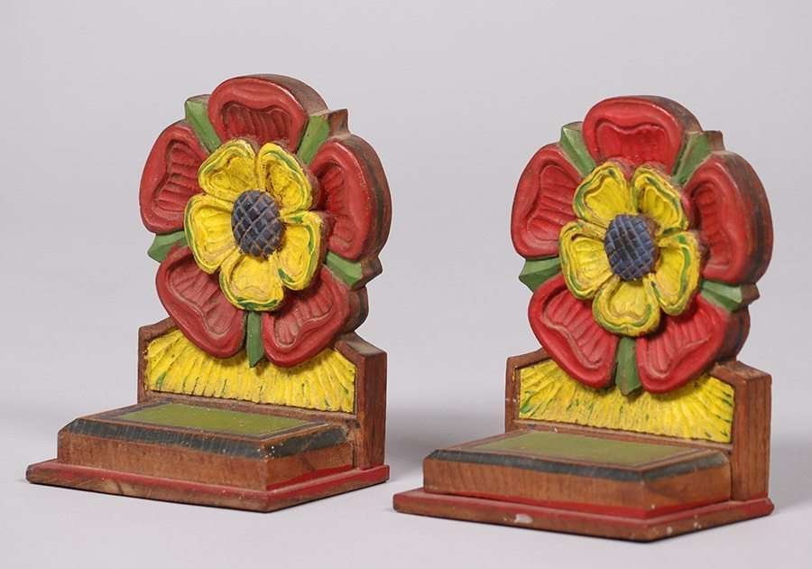 Arts & Crafts Hand Carved & Painted Bookends c1915