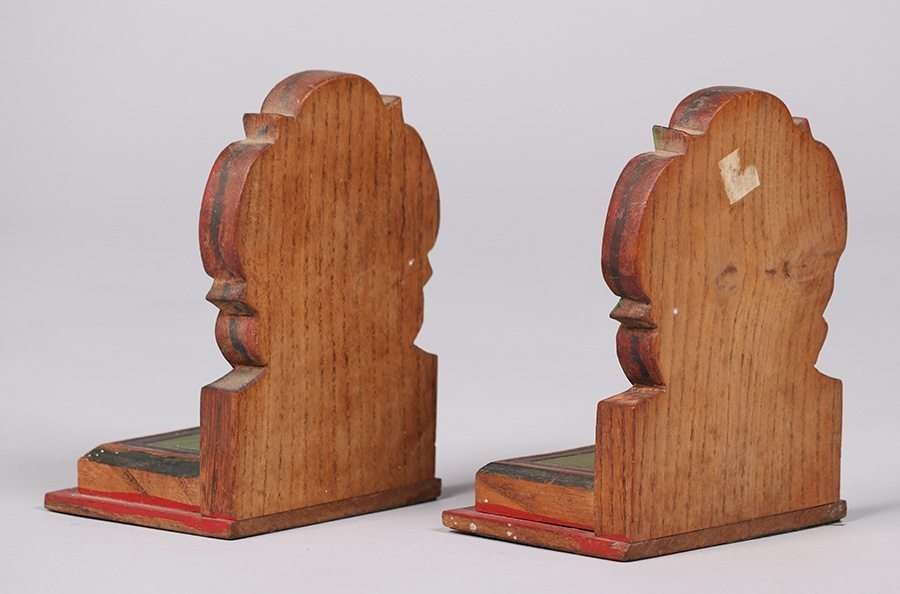 Arts & Crafts Hand Carved & Painted Bookends c1915 - 2