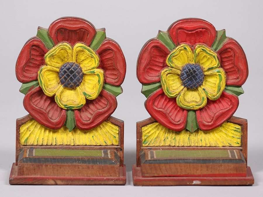 Arts & Crafts Hand Carved & Painted Bookends c1915 - 3