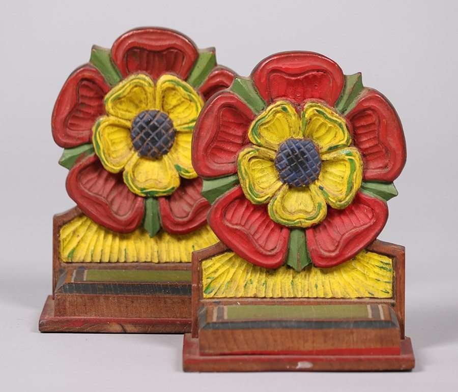 Arts & Crafts Hand Carved & Painted Bookends c1915 - 4