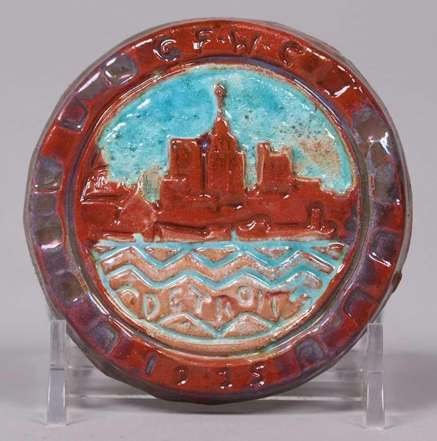 Pewabic Pottery Round Tile c1935