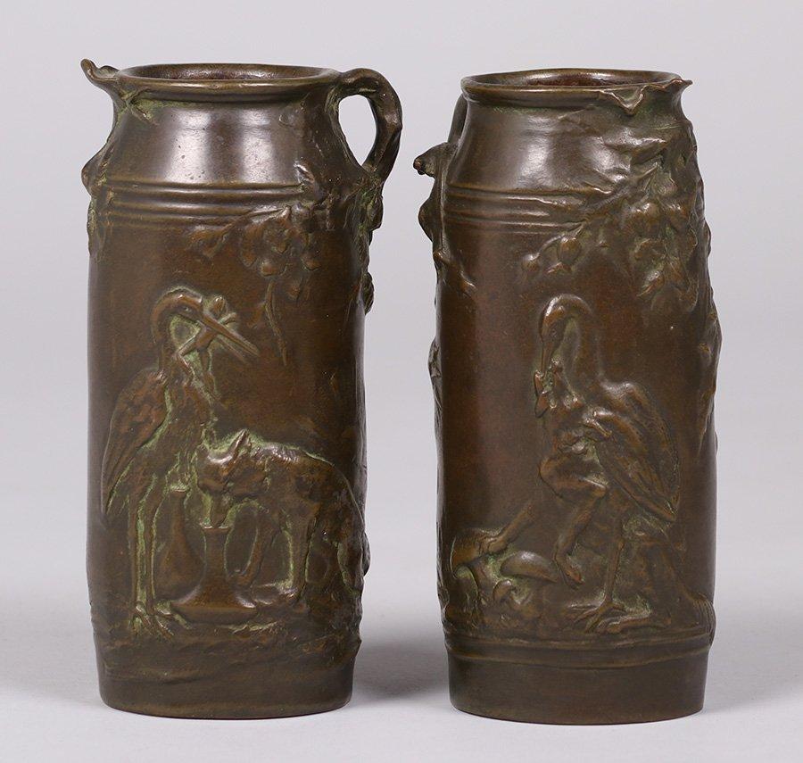 Pair Ernest Sanglan French Bronze Vases c1900