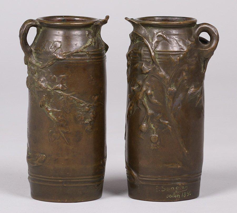 Pair Ernest Sanglan French Bronze Vases c1900 - 2