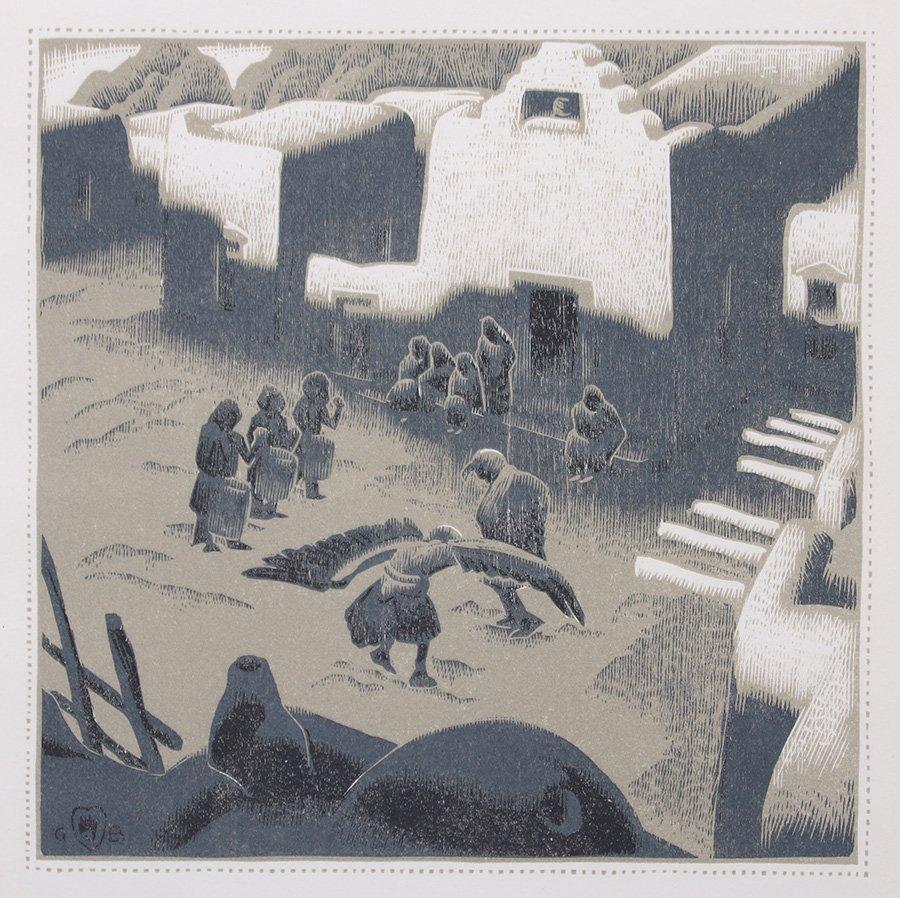 Gustave Baumann Woodblock Print Eagle Dance 1932