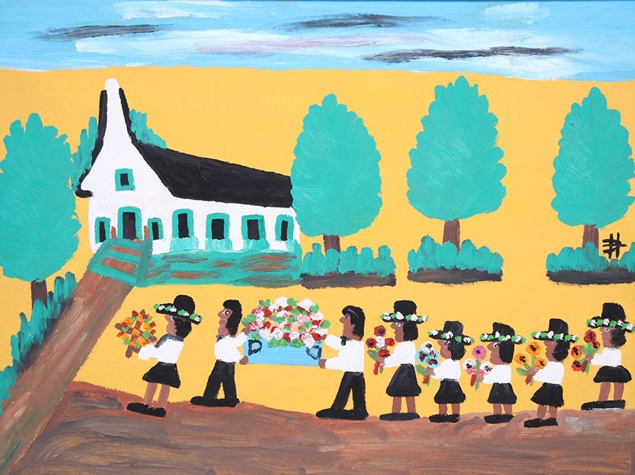 """Clementine Hunter Folk Art Painting """"The Funeral"""""""