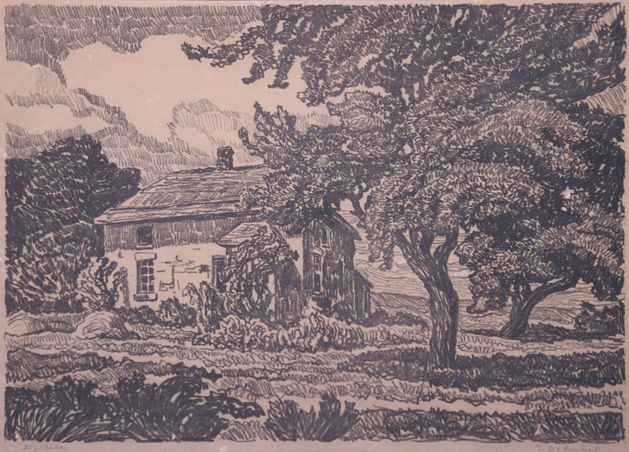 "Birger Sandzen Litho ""Old Homestead"""