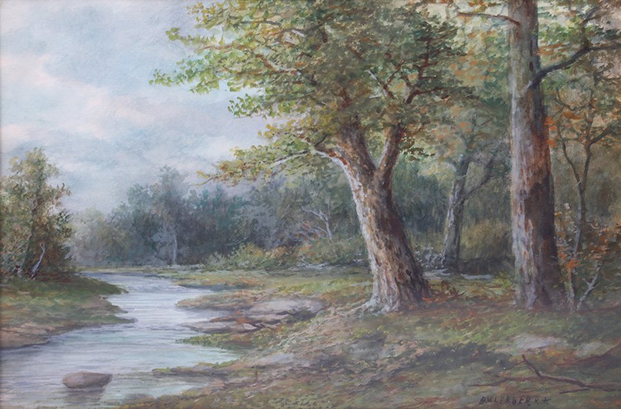 Landscape Watercolor with Oak Tree