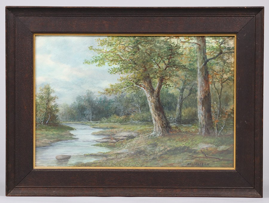 Landscape Watercolor with Oak Tree - 2