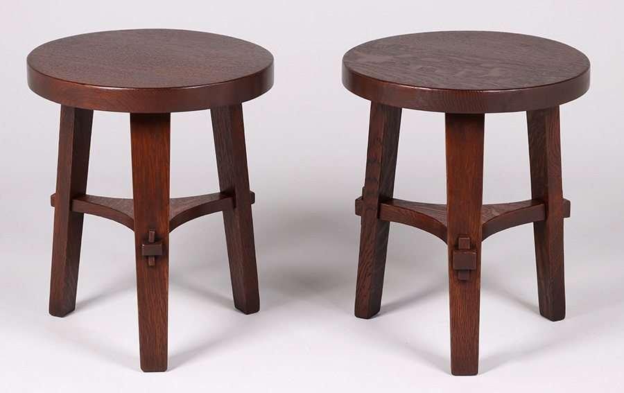 Pair Stickley Brothers Three-Leg Taborets