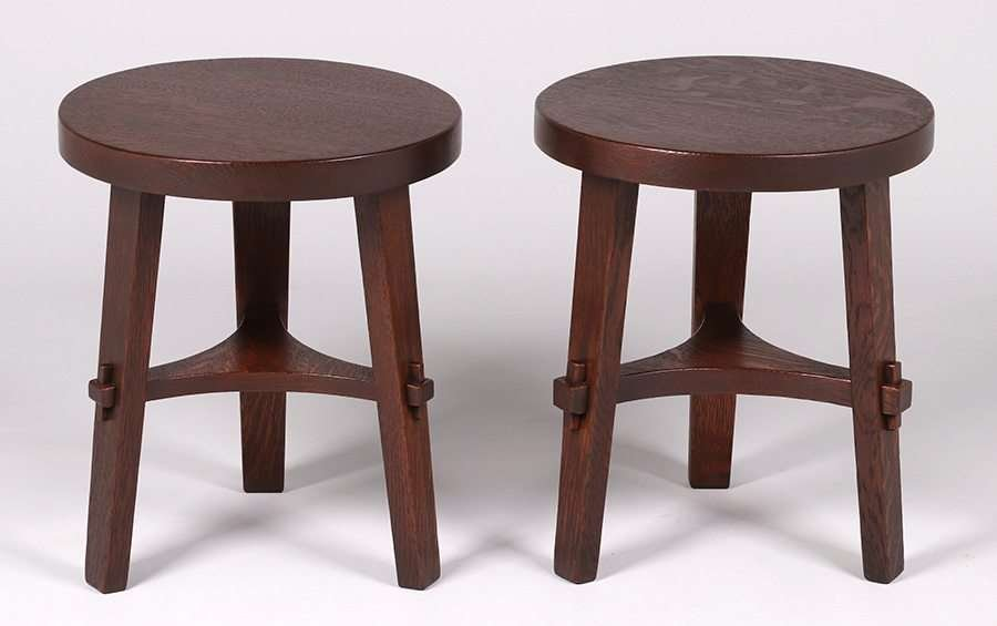 Pair Stickley Brothers Three-Leg Taborets - 2
