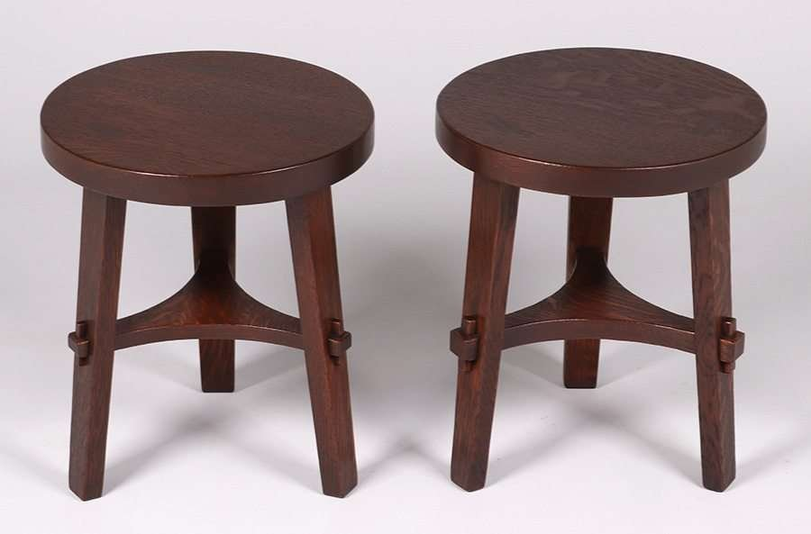 Pair Stickley Brothers Three-Leg Taborets - 3