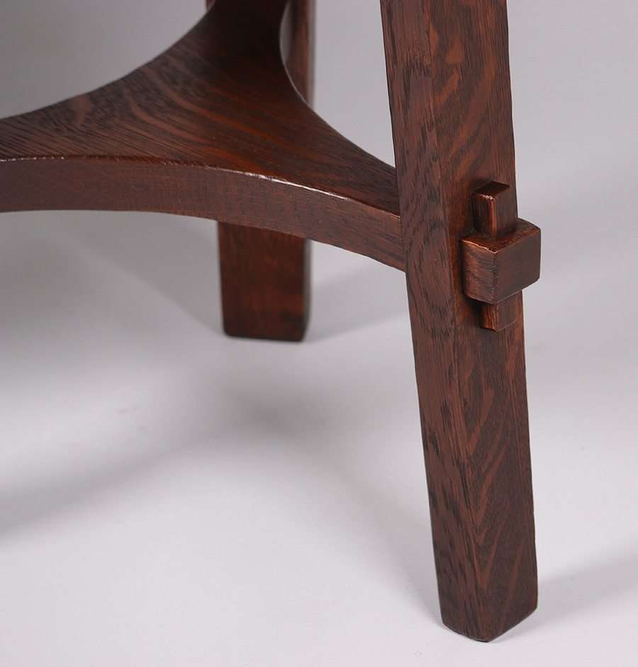 Pair Stickley Brothers Three-Leg Taborets - 4