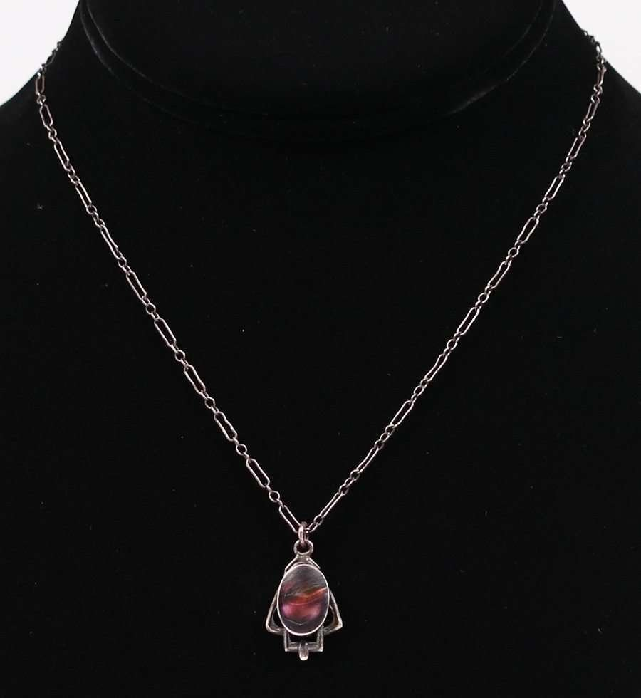 Arts & Crafts Sterling Silver Pendant Necklace c1905 - 2