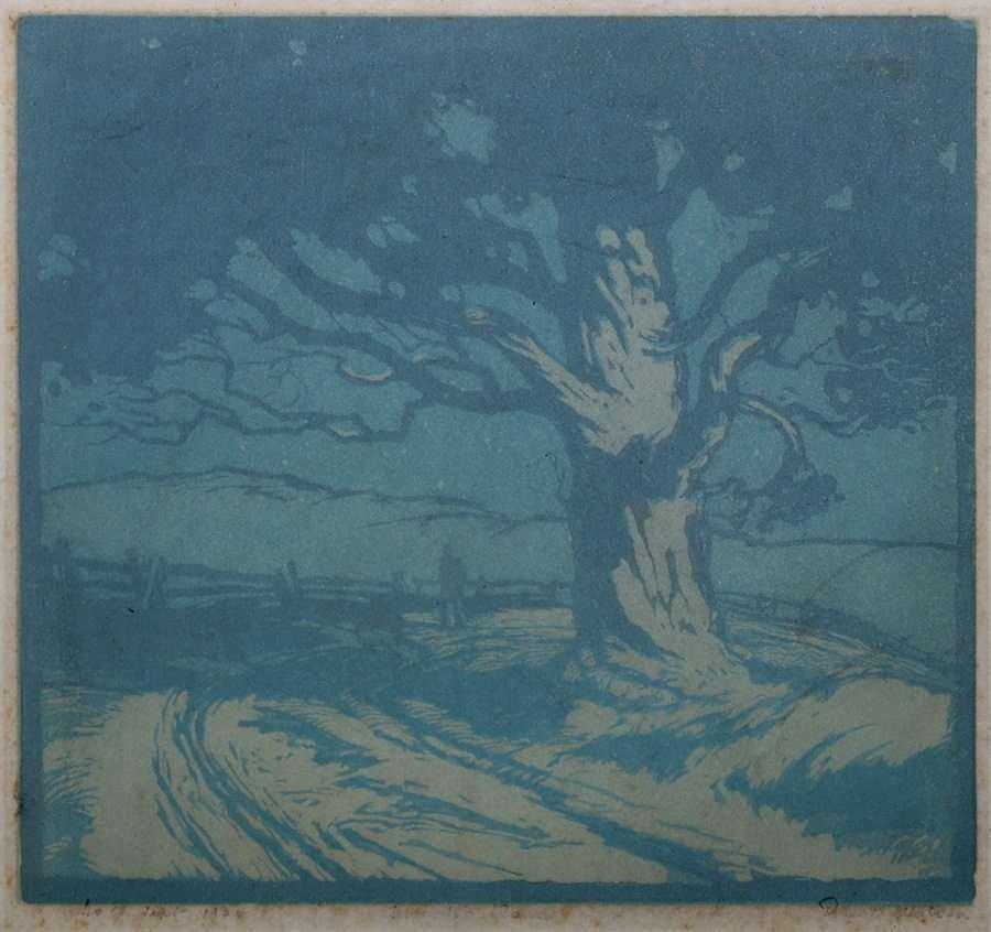 Ernest Watson Woodblock Print Oak Tree