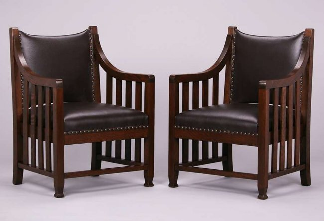 Pair Arts & Crafts Armchairs c1905