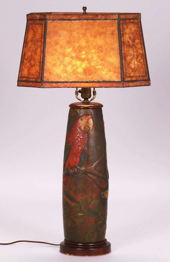Arts & Crafts Hand-Tooled Leather Parrot Lamp c1920s