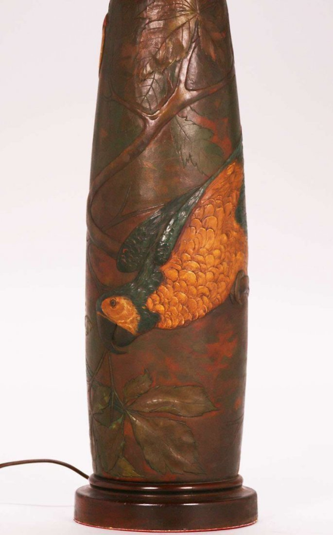 Arts & Crafts Hand-Tooled Leather Parrot Lamp c1920s - 2