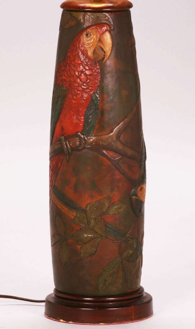 Arts & Crafts Hand-Tooled Leather Parrot Lamp c1920s - 3